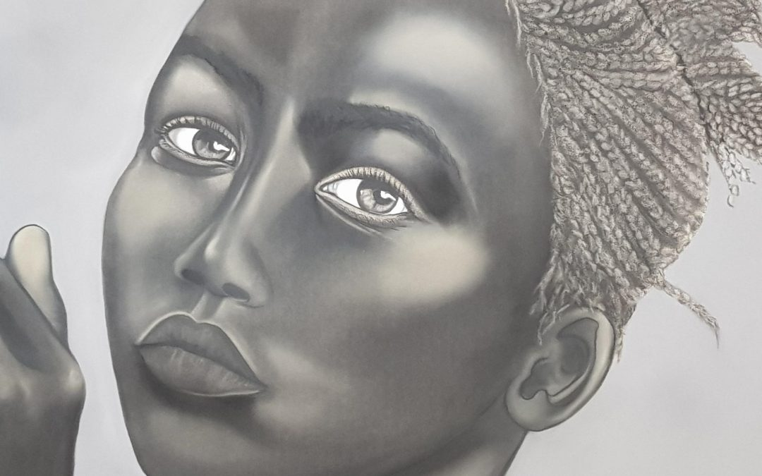 Young African Girl in Charcoal